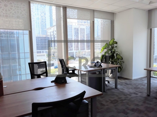 fitted, partitioned and furnished office for rent in downtown dubai, emaar square 6 | 5