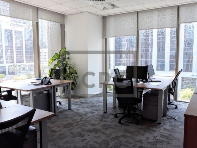 fitted, partitioned and furnished office for rent in downtown dubai, emaar square 6 | 6