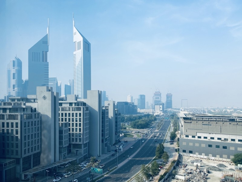 Large Studio with stunning Emirates Towers view